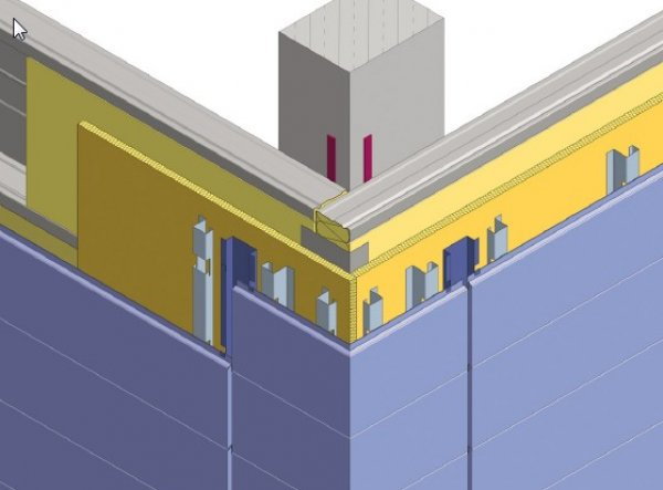 Debelina izolacije fasade - Vogal z vogalnimi elementi