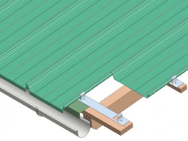 Trapezna poločevina, odvodnjavanje v žleb hladna streha