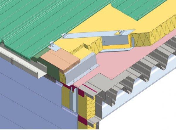 Trapezna pločevina, odvodnjavanje v žleb topla streha