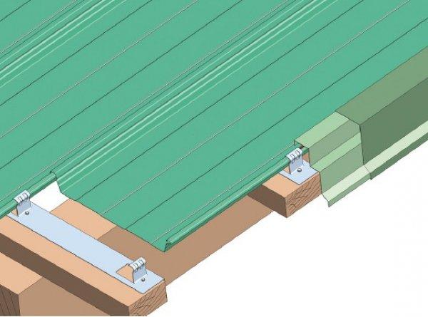 Trapezna pločevina. stranska obroba hladna streha
