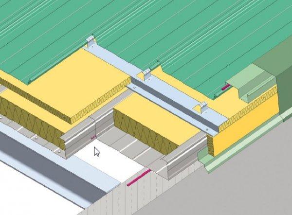 Trapezna pločevina, stranska obroba topla streha