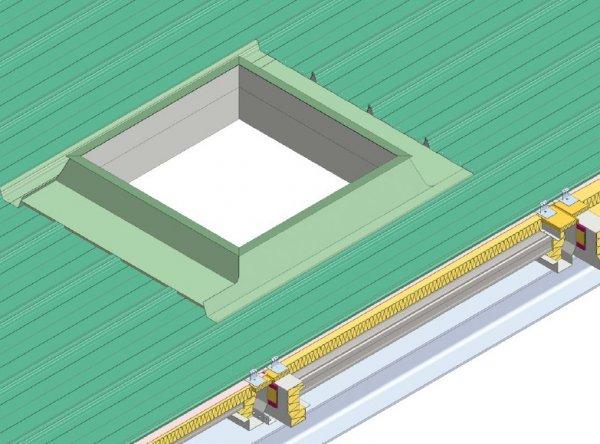 Detajl preboj - svetlobna kupola strešne kritine Element