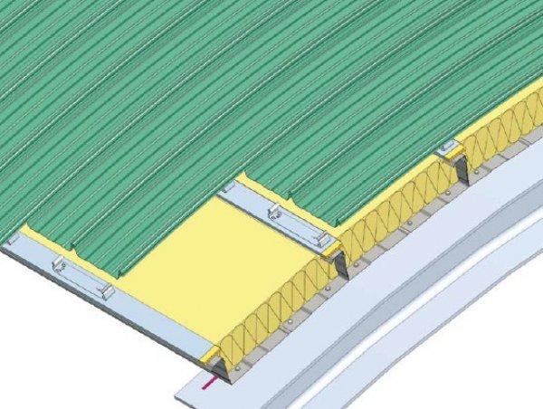 Ločna streha na kasetah kot podkonstrukcija